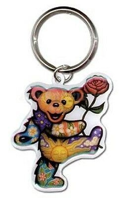 "Dan Morris GRATEFUL DEAD BEAR with ROSE METAL Key Ring 2"" X 2"" ©GDP keychain"