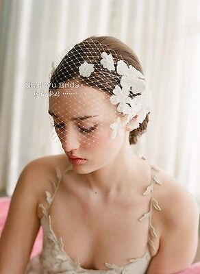 Wedding Bridal Accessories Face Veil Lace Flower Hairband Headdress Headwear New