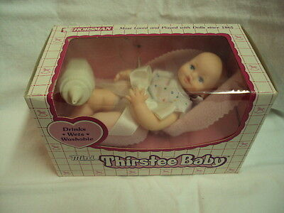 1988 Horsman Doll ~ MINI THIRSTEE BABY ~ 17039 ~ Drinks, Wets, Washable ~ NEW!