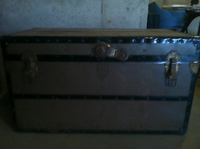 Antique Steampunk Shwayder Trunk /Green with Black trim/1930's