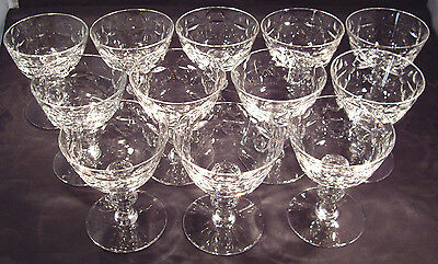 12 pcs  cut glass stemmed champagnes or sherbets