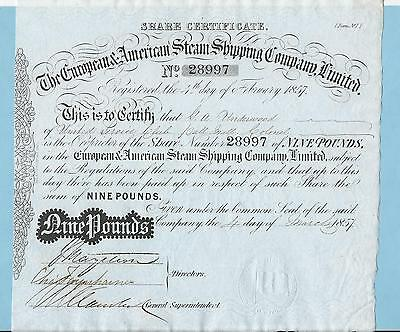European & American Steam Shipping Co. Ltd., share certificate dated 1857.