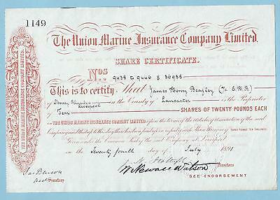 Union Marine Insurance Company Ltd., share certificate dated 1891.