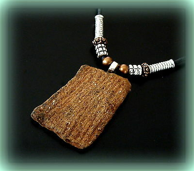 CHEROKEE INDIAN POTTERY SHARD PENDANT NECKLACE w/ Beads - TEXTURE on SHARD