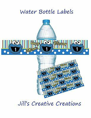 Cookie Monster Water Bottle Labels, Cookie Monster, Party Supplies, Birthday