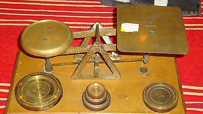 Antique Brass Postal Scale with Weights Made in England