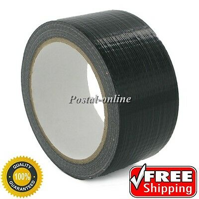 "DUCK Duct Gaffa Gaffer Waterproof Cloth Tape BLACK 48mm 2"" x 50m strong long 6 1"