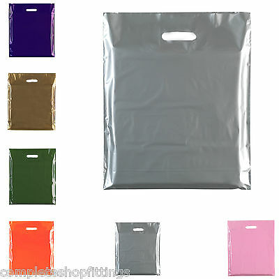 "100 New Die Cut Handle Carrier Gift Shopping Plastic Bags 15"" x 18"" + 3"""