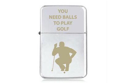 ★STAR★ NOVELTY NEED BALL engraved LIGHTER silver pink gold black GOLF tee GOLFER