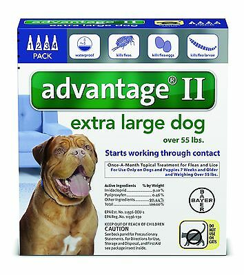 Advantage II for Dogs Over 55 lb 4pk (4 Month Supply) Genuine EPA USA Approved