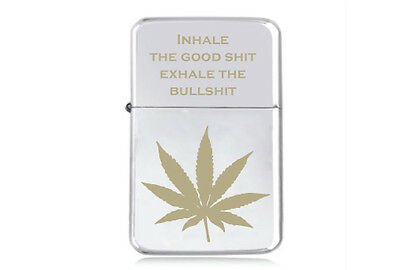 ★STAR★ STONER engraved LIGHTER silver gold black pink MARIJUANA LEAF BULLSHIT