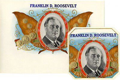 Vintage 1930s Franklin D. Roosevelt Campaign Cigar Labels ~ Set of 2 (4376)
