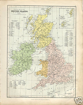 Very Rare 1860 Large Philips' Political Map of The BRITISH ISLANDS by Hughes