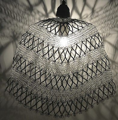 Industrial Retro Vintage Style Wire Cage Pendant Light Shade- Distressed White
