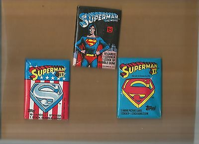 Superman I, II, and III Unopened Topps Trading Card Pack Trio!
