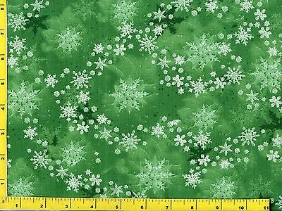 White & Green Snowflakes on Green Christmas Quilting Fabric by Yard  #3036