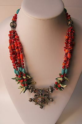 Moroccan Tribal Necklace in Coral and Turquoise Wirework Enamel Pendant