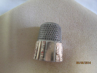 """Vintage Victorian Era Ornate Sewing Notions Thimble Stamped Large """"S"""" European?"""