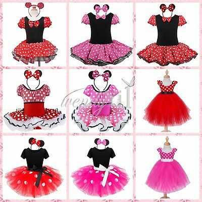 Kid Girl Baby Christmas Minnie Mouse Outfits Party Costume Tutu Dress + Headband