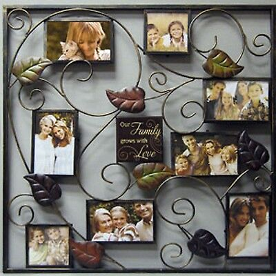 NEW Family Wall Collage Frame 8 Picture Opening Black Iron Photo Leaf Gold Fun