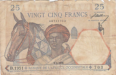 FRENCH WEST AFRICA: 25 FRANCS, 9-3-1939, P-22