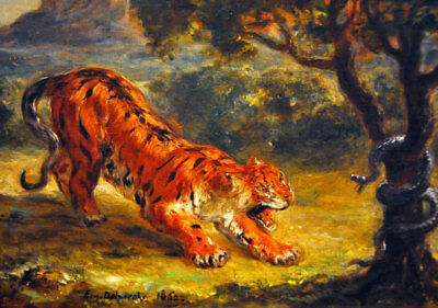 "Tiger And Snake by Eugene Delacroix, Hand Painted Oil Reproduction, 26"" x 18"""