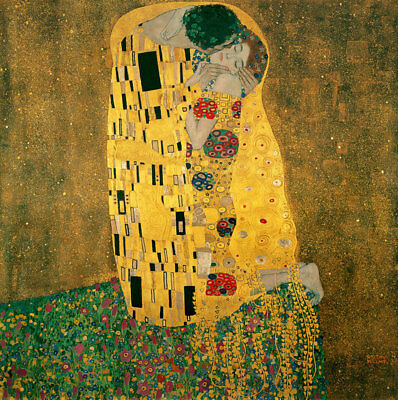 "The Kiss by Gustav Klimt, Hand Painted Oil Painting Reproduction, 24"" x 24"""