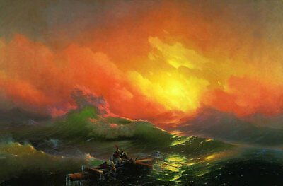 "The Ninth Wave by Ivan Aivazovsky, Hand Painted Painting Reproduction, 30"" x 20"""