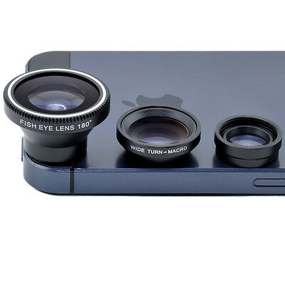3 in 1 Black 180 Fish Eye Lens + Wide Angle + Macro Lens for iPhone 5S 5C 5 4S 4