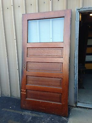 Antique Oak Beveled Glass Entrance Door D 31