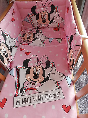 New Minnie Mouse 3 Designs And Sizes  ` Spacesaver`cot Or Cotbed Bumper  Set