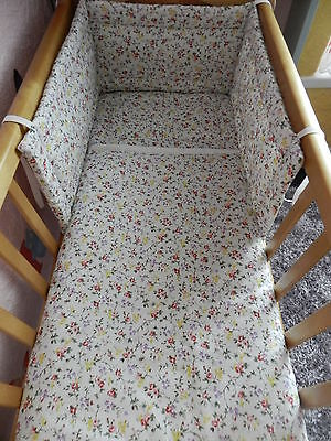 Vintage Shabby Chic Ditsy Flowers Both Sides  Crib Cot Or Cot Bed Bedding Set.
