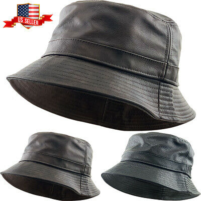 PU Leather Faux Black Bucket Hat NEW(Various Colors)