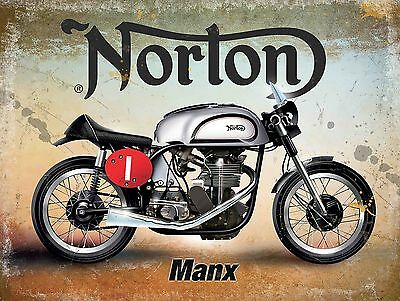 Norton Manx Classic British Motorcycle Old Vintage Garage Small Metal/Tin Sign