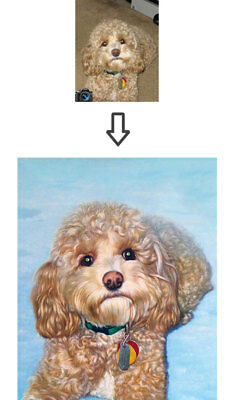 """Custom Hand Painted """"2 Pets"""" Oil Portrait Painted From Your Photos, 36"""" x 24"""""""