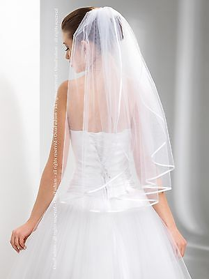 "1T White / Ivory Wedding Prom Bridal Elbow Veil With Comb 28"" - Satin Edge"