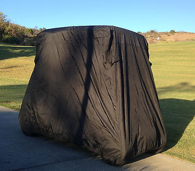 "2 Passenger Golf Cart Cover in Black roof up to 58"", Fits E Z GO, Club Car"