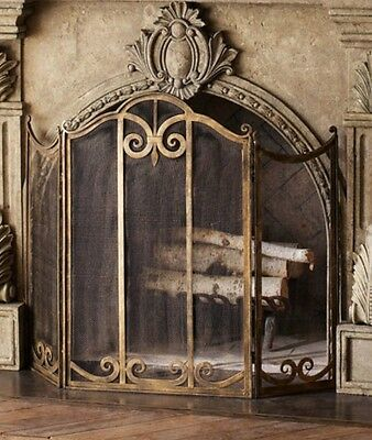 Neiman Marcus IRON Scroll CLASSIC FIREPLACE SCREEN Antiqued Gold Luxe