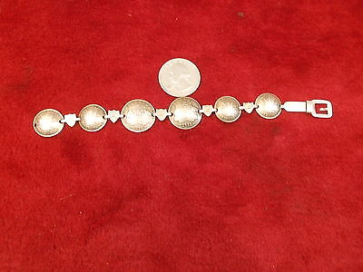 Rare Old Vtg Handcrafted Coin Silver Bracelet From Australia, 3 & 6 Pence Coins