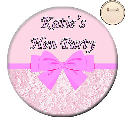 Personalised VINTAGE LACE BOW Photo PIN BADGE Button Hen Party Night -58mm