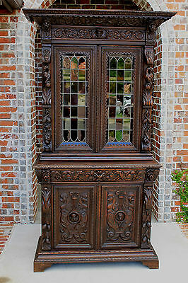 Antique French Carved Oak Black Forest Bookcase HUNT Cabinet Cupboard 19th C