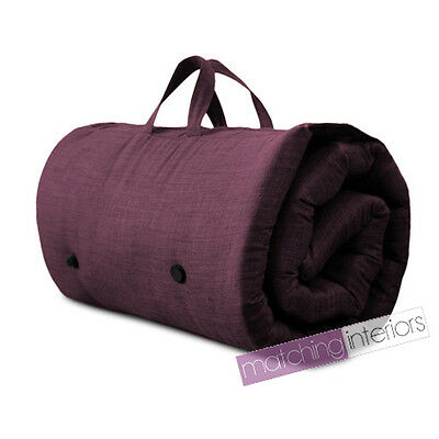 Plum Purple Travel Guest Sleepover Mattress Roll Up Futon Z Bed Gap Year Student