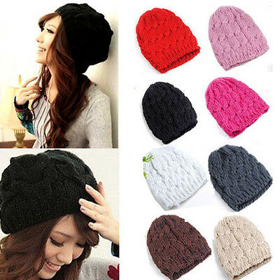 Lady Women Knit Winter Warm Crochet Hat Braided Baggy Beret Beanie Cap 10 Colors
