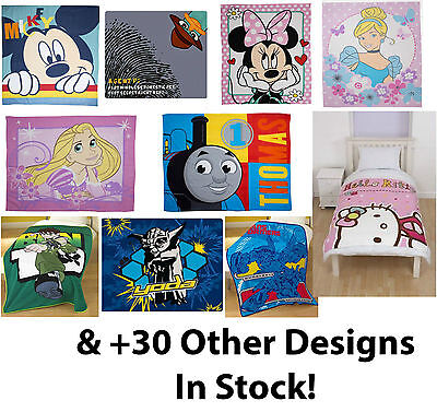 Kids Boys Girls Bed Fleece Blanket Throw Official Disney Novelty Characters New
