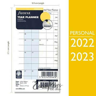 Filofax Personal Horizontal Year Diary Planner Insert Refill 68401 -2019 OR 2020