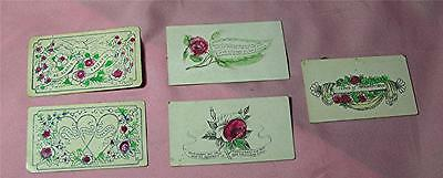 5 VTG / ANTIQUE VICTORIAN C 1870 XMAS GREETING CALLING GIFT CARDS, HAND COLORED