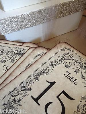 STUNNING Aged Parchment Table Numbers~1-20~Designed~Handcrafted~Vintage Wedding~