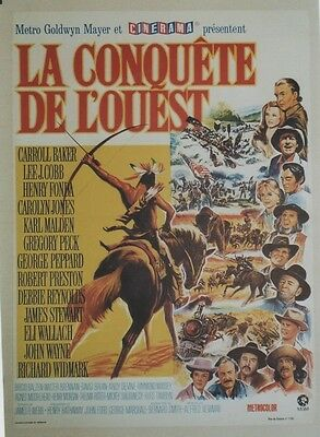 """LA CONQUÊTE DE L'OUEST (HOW THE WEST WAS WON)"" Affiche entoilée (John FORD)"