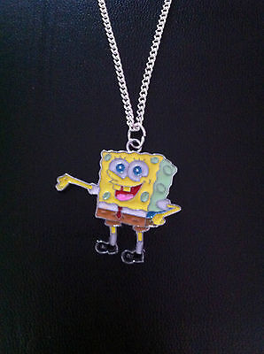 "Brand New Spongebob Squarepants Charm Necklace 18"" Silver Chain In Gift Bag"