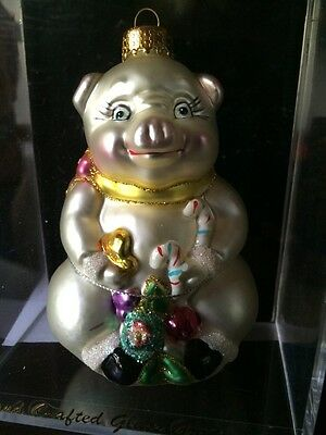 "Vintage PIG CHRISTMAS Tree ORNAMENT Blown glass 4"" tall NEW IN BOX NIB"